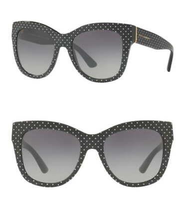$270 Dolce & Gabbana Polka Dot Sunglasses Black + White Oversized Retro Vibe NIB