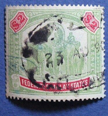 MALAYA 1900 FEDERATED MALAY STATES $2.00 SCOTT# 15 S.G.# 24 USED         CS04903
