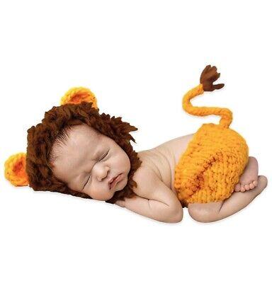 Newborn Lion Costume (Newborn Baby Knit Costume Photography Photo Props Romper Hat Lion Theme)