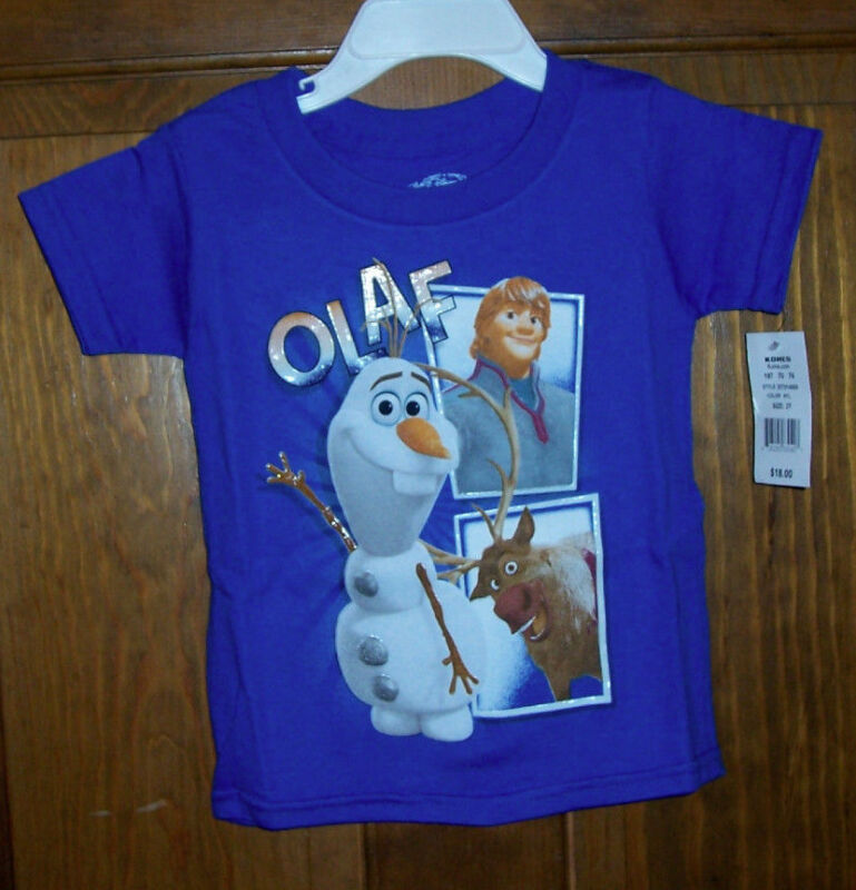 Frozen Disney Olaf Sven Kristoff Blue SS T Top Tee Shirt Kids Little Boys Size 7