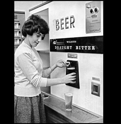 Wilson's Beer Vending Machine PHOTO 1950s Vintage Girl PRINT Bar Sign Art Pub