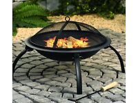 Black Fire Pit Steel Heater Outdoor Folding BBQ Foldable Camping