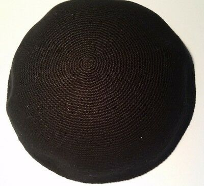 BIG Black Knitted Yamaka Kippah Kippot 22 20 18 16 cm Yarmulke Jewish Hat kipa