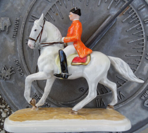 GOEBEL HORSE LIPIZZANER WITH RIDER PORCELAIN FIGURINE CLASSICAL DRESSAGE c. 1958