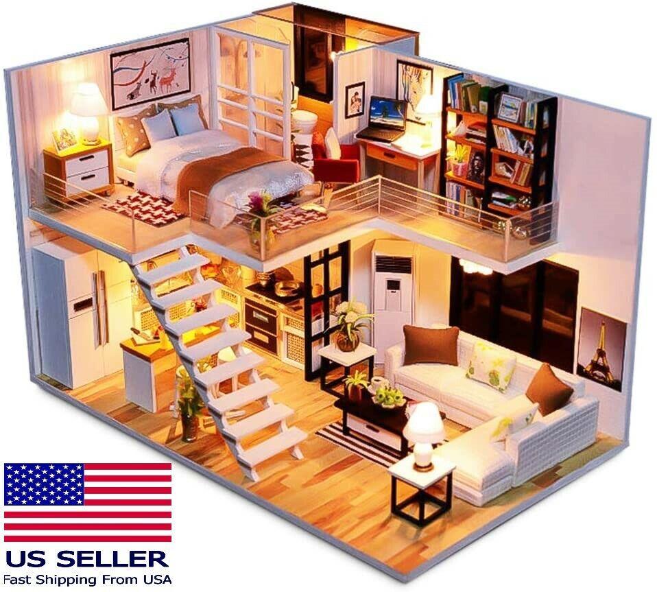 DIY Spilay Simple Elegance Dollhouse Miniature Duplex Apartment Loft Model Kit Doll Houses