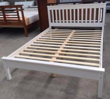 Brand New Rubber Wood White Queen/ Double Bed Frame