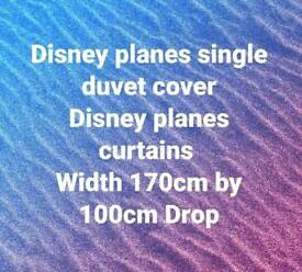 Planes curtains and single duvet cover
