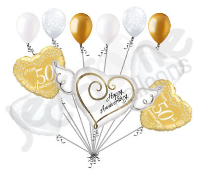 50th Wedding Anniversary Balloons Decorations (11 pc 50th Gold Happy Anniversary Balloon Bouquet Decoration Married)
