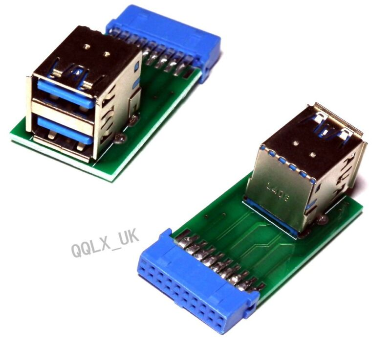 2+ports+USB+3.0+A+Female+Port+HUB+to+20Pin+Header+Adapter+Connector