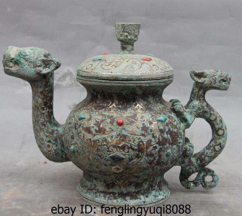China Palace Bronze Turquoise Coral Dragon Beast Tank Canister Crock kettle Pot