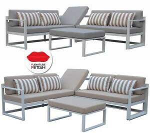 NEW DESIGN Outdoor Adler Corner Lounge and Table - White Frame Nerang Gold Coast West Preview