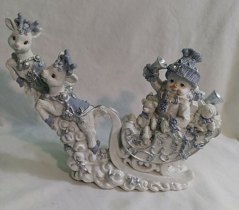 Rare TMD DESIGNS Home Decor Ceramic Snowman On A Sleigh Pulled By Reindeer