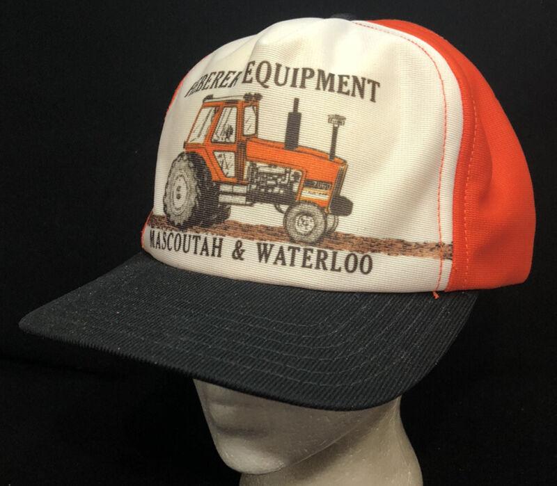Vtg Heberer Equipment Baseball Hat Snapback Cap Colorama USA Tractor Dealer Logo