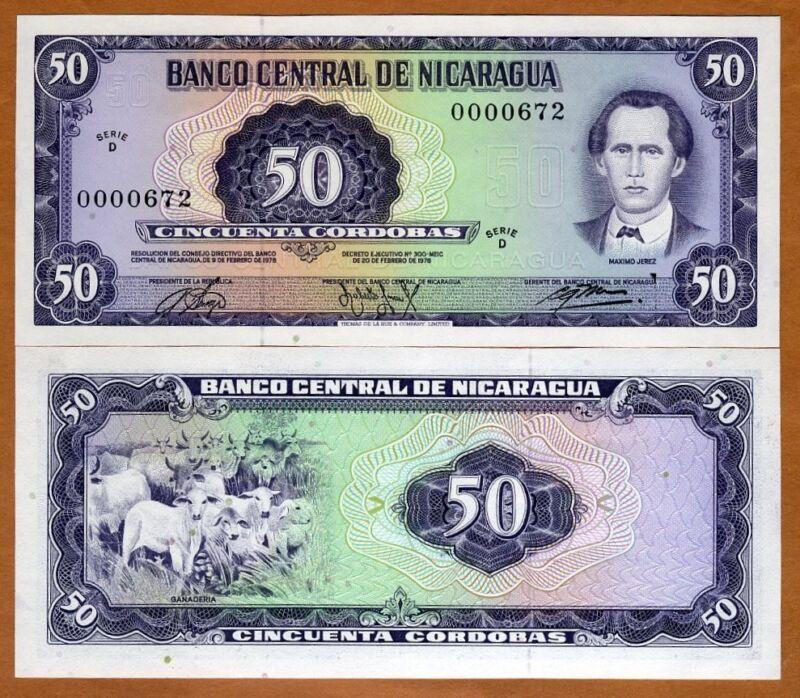 Nicaragua, 50 cordobas, L. 1978, Pick 130, D-Serie, UNC > Low S/Ns