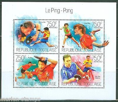 TOGO 2013 PING PONG ZHANG JIKE, DING NING XU XIN & JAN OVE WALDNER SHEET MINT NH