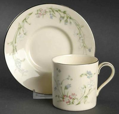 Minton Brookwood Fine Bone China Platinum Trim Demitasse Cup & Saucer Set