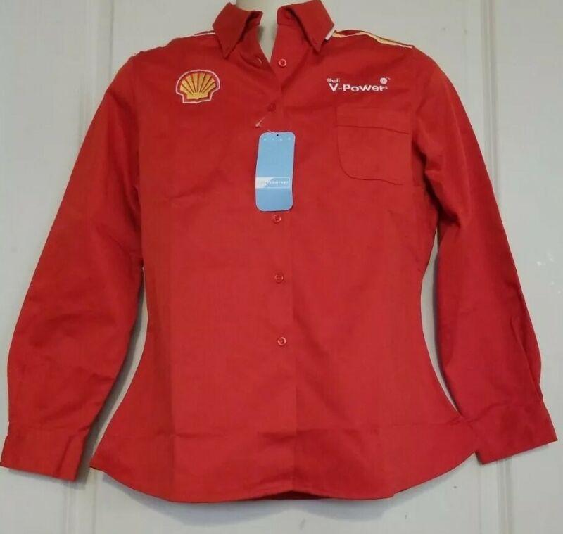 Shell V-Power Red Uniform Group Long Sleeve Work Shirt M NWT