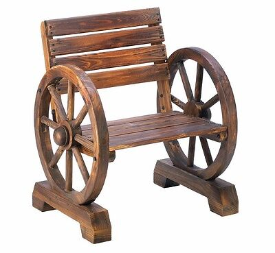 Wagon Wheel Wood Garden Chair