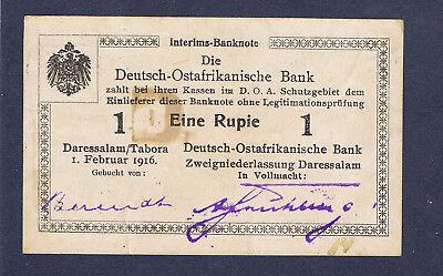 Ros. 928f Deutsch Ostafrika 1 Rupie mit Geheimzeichen D. fast kassenfrisch !!⓱