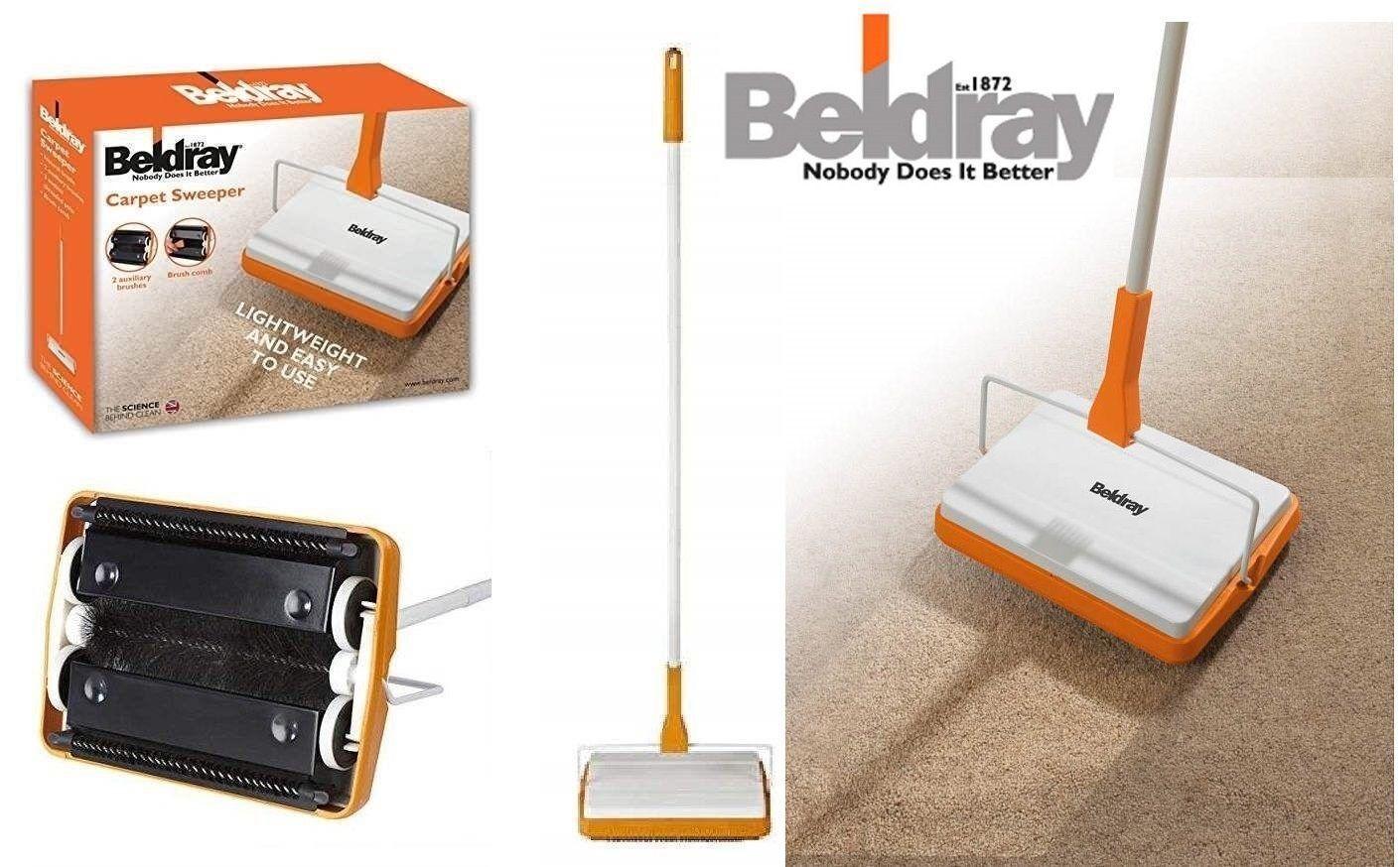 Beldray Manual Carpet Sweeper 3 Brush Cordless Hard Floor Rug Cleaner Duster New