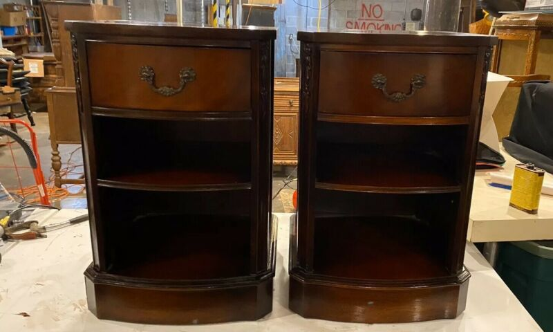 Pair 1 Great Drawer Mahogany Vintage Nightstands End Tables