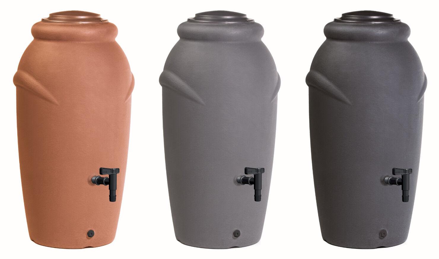 Regentonne Regenwassertonne Amphore Wassertank 210L Kunststoff Wasserhahn