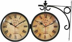 Clock Double Sided Antique Victoria Station 1747 London Black 10 Inch Wall Clock