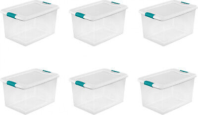 Plastic Storage Bins With Lids Attic Large Tote Latching Stackable Clear 6 Pack - Plastic Bins With Lids