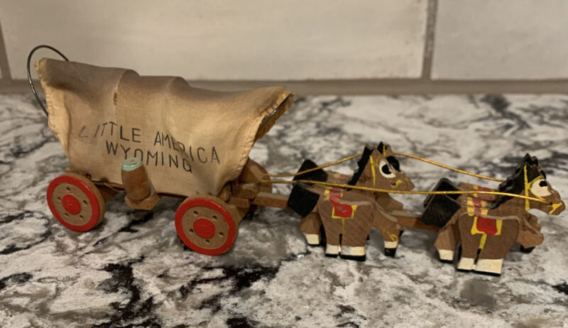 Vtg Wood Toy Mini Horse Stagecoach  Hand Painted Little America Wyoming