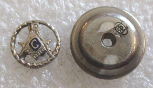 Antique 10K White Gold Mason Blue Lodge Tiny Lapel Pin - Masonic Freemason