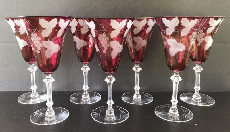 Vintage Bohemian Wine Goblets Ruby Stain Cut Crystal Frosted Grape Set Of 7
