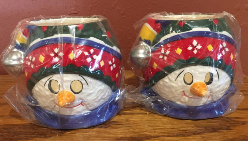 """NEW VINTAGE SNOWMAN CANDLE HOLDERS 4"""" SET OF 2-CANDLE LIGHT SHINES THROUGH EYES"""