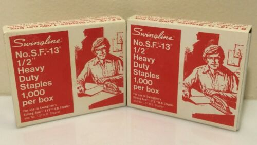 "2 Complete Full  box Vintage Staples - Swingline Heavy Duty 1/2"" SF-13 Staples"