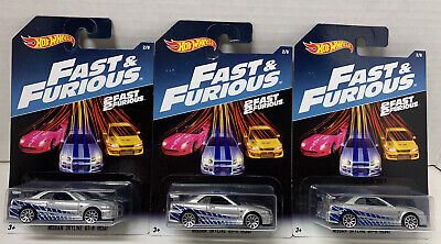 Hot Wheels 2017 Fast & the Furious LOT of 3x NISSAN SKYLINE GT-R (R34) # 2/8
