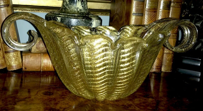 Rare Gold Flecked Murano Bowl / Basket/ Centerpiece