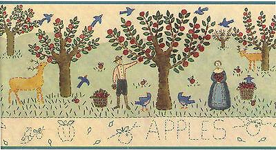 Apple Orchard Apples Country Vintage Primitive Folk Art Teal Wallpaper Border