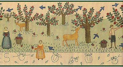 Apple Orchard Apples Country Vintage Primitive Folk Art Green Wallpaper Border