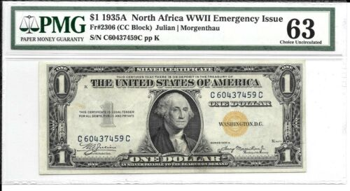 FR 2306 $1 1935 SILVER CERTIFICATE NORTH AFRICA WWII EMERGENCY ISSUE PMG 63