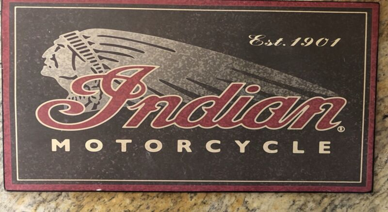 """INDIAN Motorcycle EST.1901 METAL SIGN 14"""" x 7 1/4"""" NEW"""