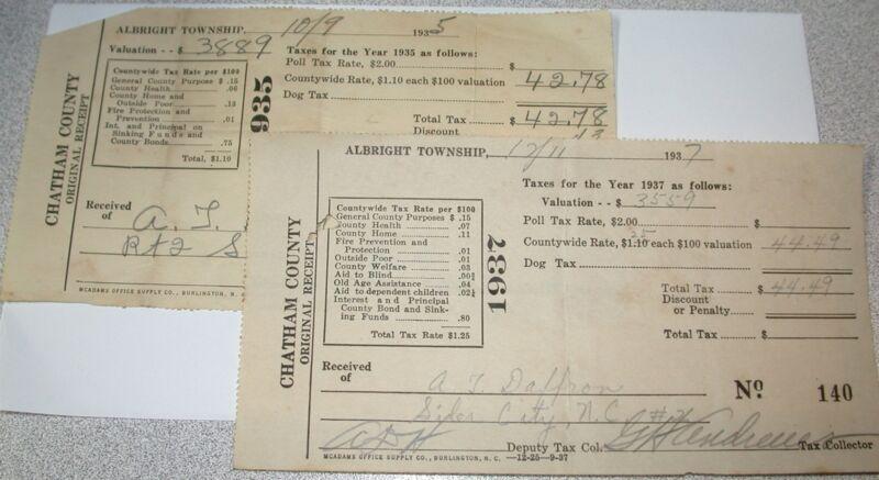 2 Tax Receipts A T DAFFRON Albright Township Chatham County, NC 1935-1937