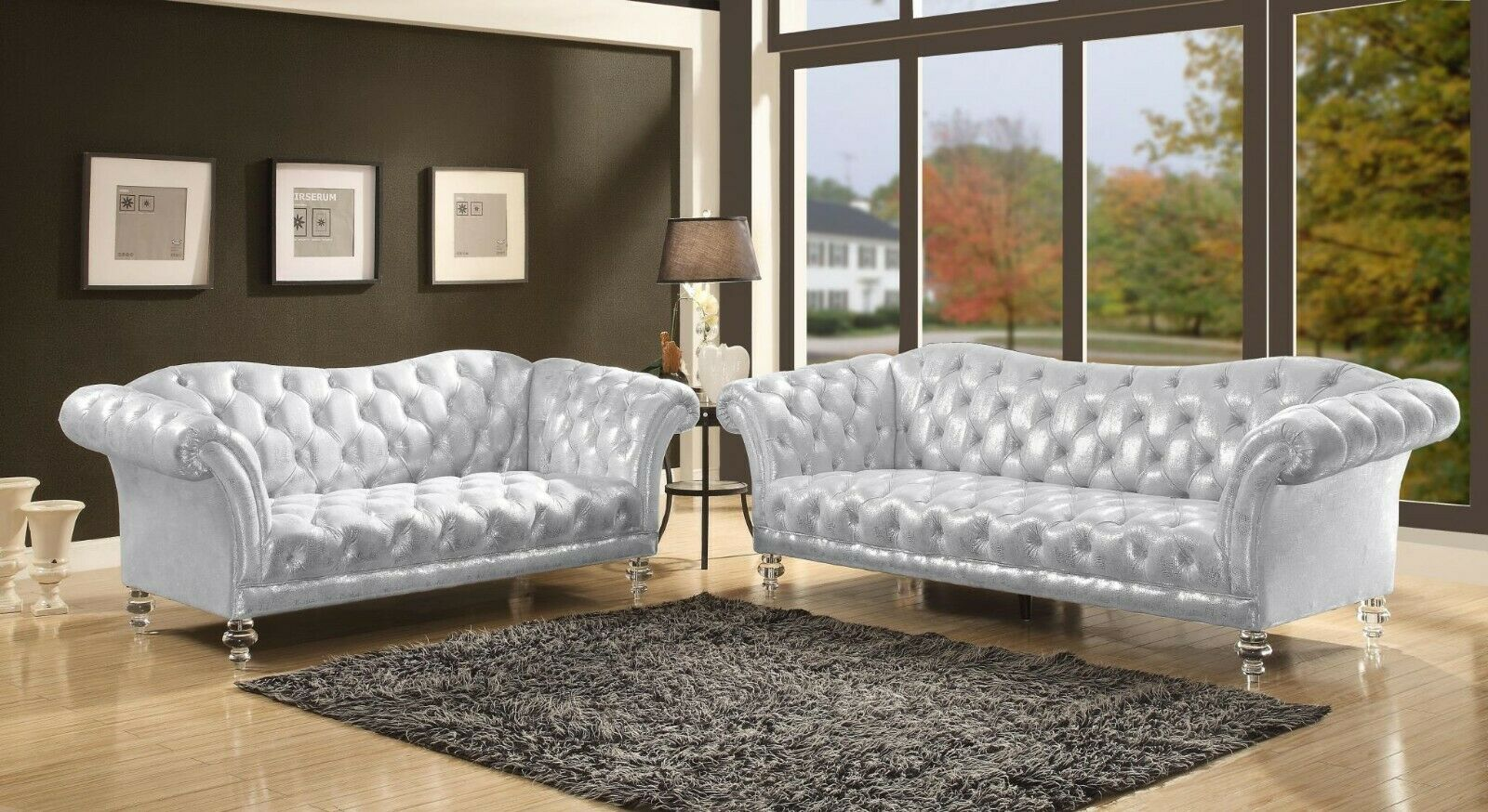 Acme Furniture Dixie Metallic Silver Fabric Sofa and Lovesea