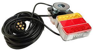 MAGNETIC LED TRAILER TOWING LIGHTBOARD LIGHTS 4.5 METRE rear lamps bike tractor