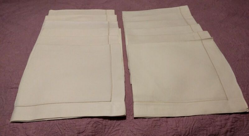 "12 Large Exquisite Ecru Hemstitched Linen Napkins 24.5"" x 23.5"""