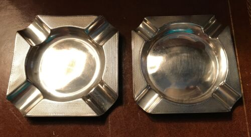 Two Vintage British Sterling Silver Ashtrays