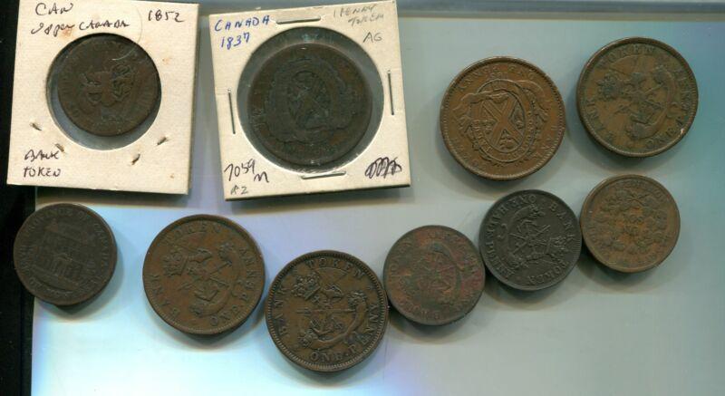 canada token 1837 1850 1857 1838 token lot of 11 7059m