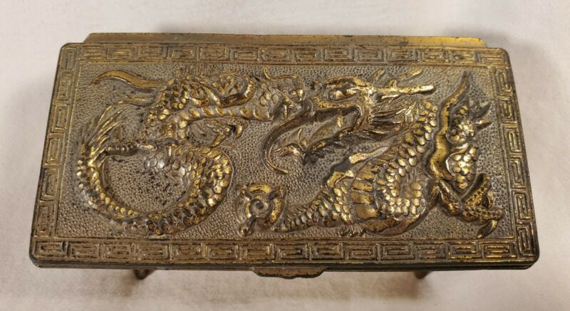 Footed Brass VTG. Dragon Stamp Box, Japan, With Makers Mark K.I.
