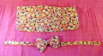 Carrot & Gibbs Formal Pure Silk Handmade Bow Tie Cummerbund Set Rust Gold Purple Gold Cummerbund-set