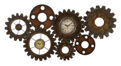Metal Time Piece 2 Clock Faces Set Brown Frame Gears Wall Decor 13498