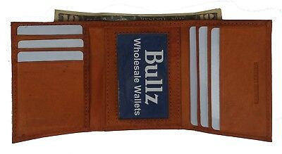 Cowhide Leather Mens Wallets 6 Credit Card, 1 ID Window and Double Bills