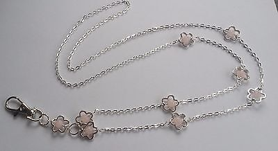 Handmade Chain ID Lanyard Rose Quartz Gemstone Flowers ID Lanyard Badge Holder